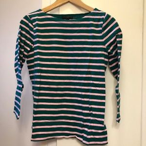 J. Crew pink and green striped tee